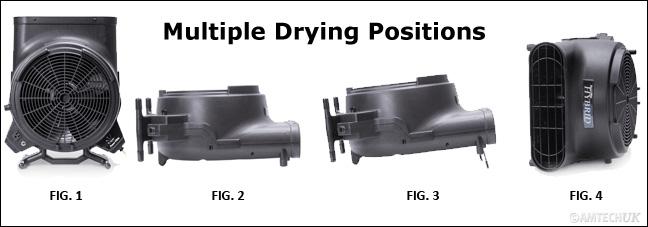 Hybrid carpet dryer 4 drying operating positions